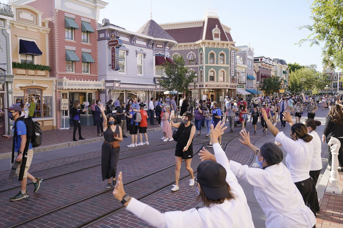 Guests at Main Street USA at Disneyland in Anaheim, California.