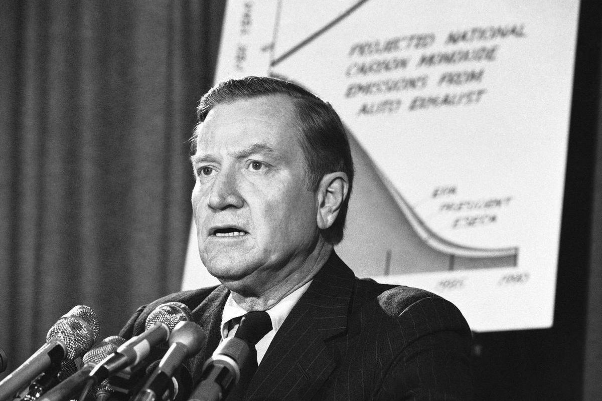 FILE - In this March 6, 1975, file photo, Environmental Protection Agency Administrator Russell Train speaks at a news conference in Washington. According to the Washington Post, Train died Monday, Sept. 17, 2012, at his farm in Bozman, Md.