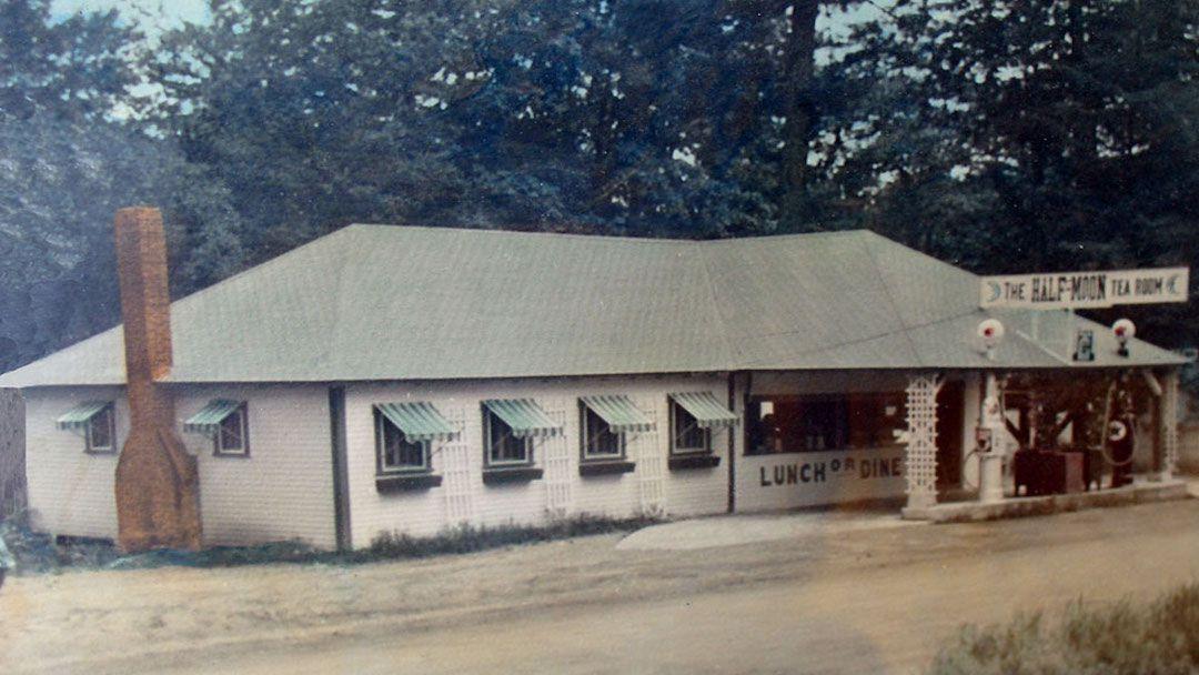 The exterior of the Half-Moon tea room.