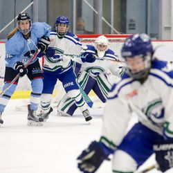 Buffalo Beauts forward Maddie Elia and Connecticut Whale defender Elena Orlando battle in front of the net.
