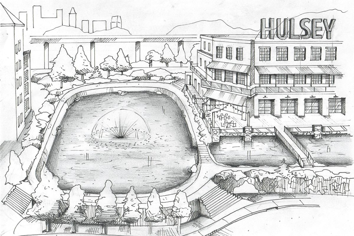 A black and white sketch of the Hulsey Lake, a new water feature that would neighbor a retail building.