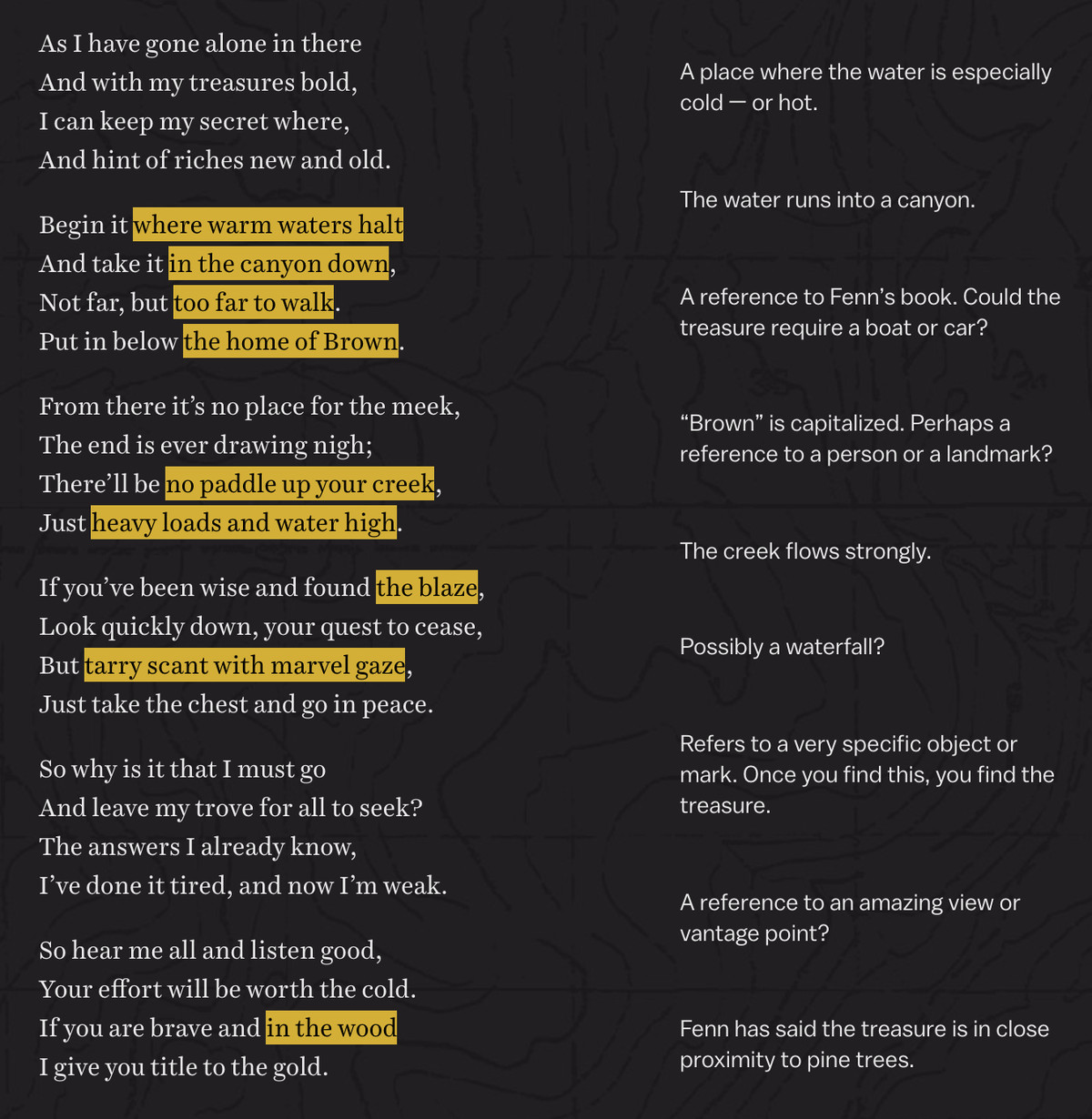 Poem with annotations evenly spaced out in the right column.