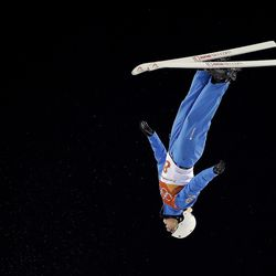 Kiley McKinnon, of the United States, jumps during the women's freestyle aerial final at Phoenix Snow Park at the 2018 Winter Olympics in Pyeongchang, South Korea, Friday, Feb. 16, 2018.