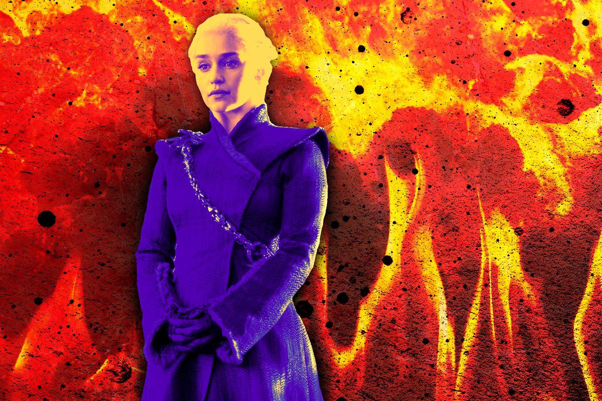 Daenerys Targaryen standing in front of fire