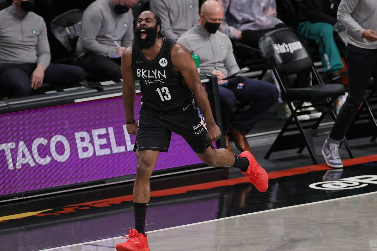 James Harden of the Brooklyn Nets reacts after scoring during the first half of Game Five of their Eastern Conference first-round playoff series against the Boston Celtics at Barclays Center on June 01, 2021 in the Brooklyn borough of New York City.