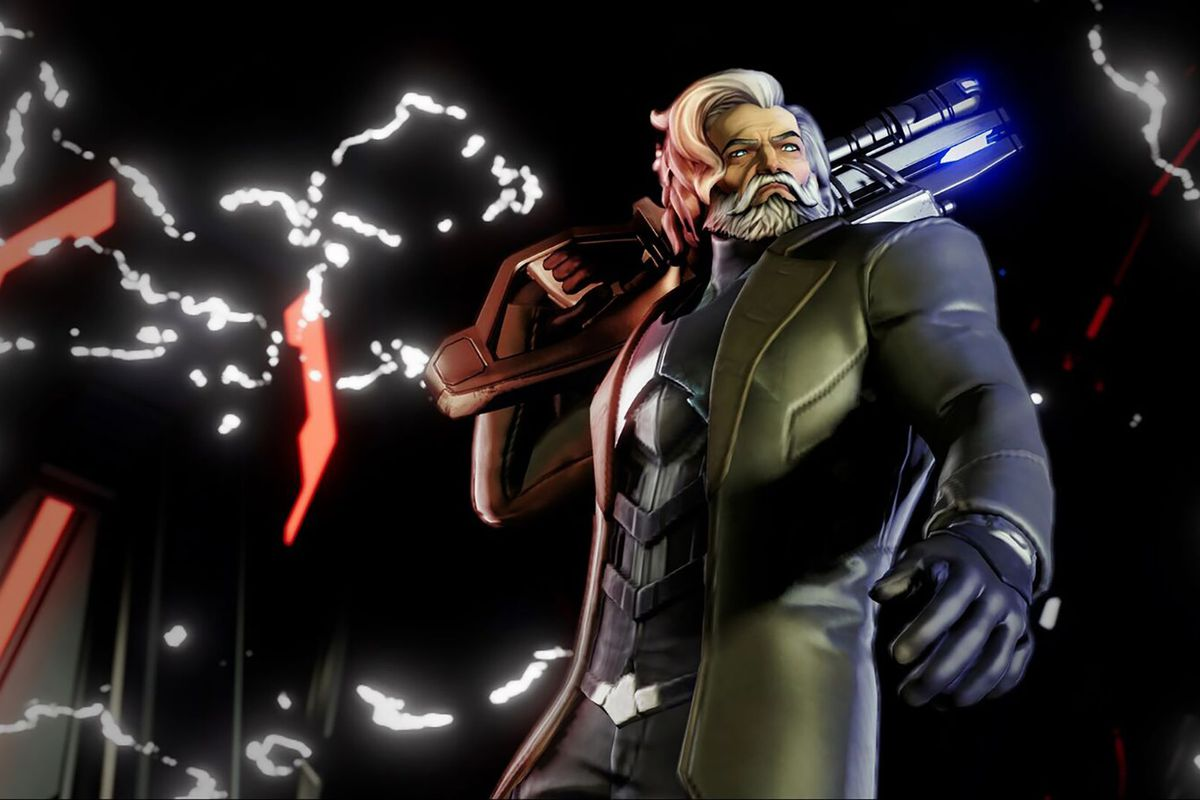 In this Agents of Mayhem screenshot the character Hammersmith stands with a large gun hoisted over one of his shoulders. Electricity crackles in the background and a glowing red tower-like structure can be seen.