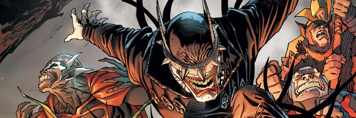 The Batman Who Laughs in an Andy Kubert variant cover for Dark Nights Metal.