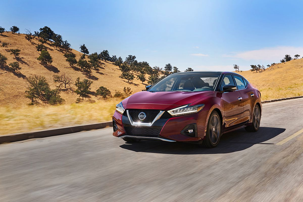 The 2019 Nissan Maxima's aggressive, updated exterior appearance was created by Nissan Design America in La Jolla, Calif. and features a more voluminous front grille with a deeper V-motion flow that carries into the hood and down the body to the redesigne