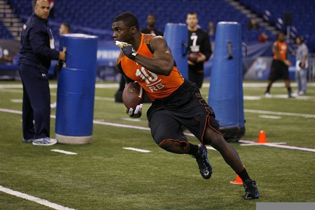 Feb 26, 2012; Indianapolis, IN, USA; Texas A&M running back Cyrus Gray does running drills during the NFL Combine at Lucas Oil Stadium. Mandatory Credit: Brian Spurlock-US PRESSWIRE