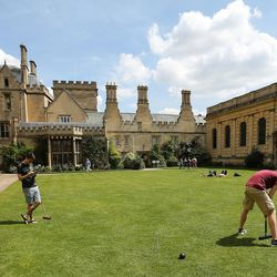Students play croquet at Pembroke College, Oxford University, England, on June 14, 2017.