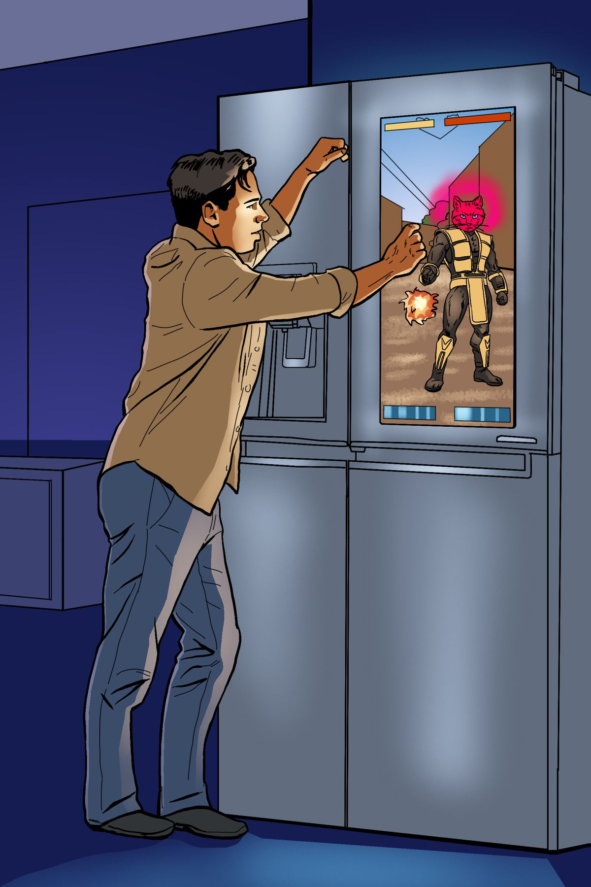 A gamer leans against a refrigerator casually, interacting with a game on its touchscreen that features a pink cat warrior.