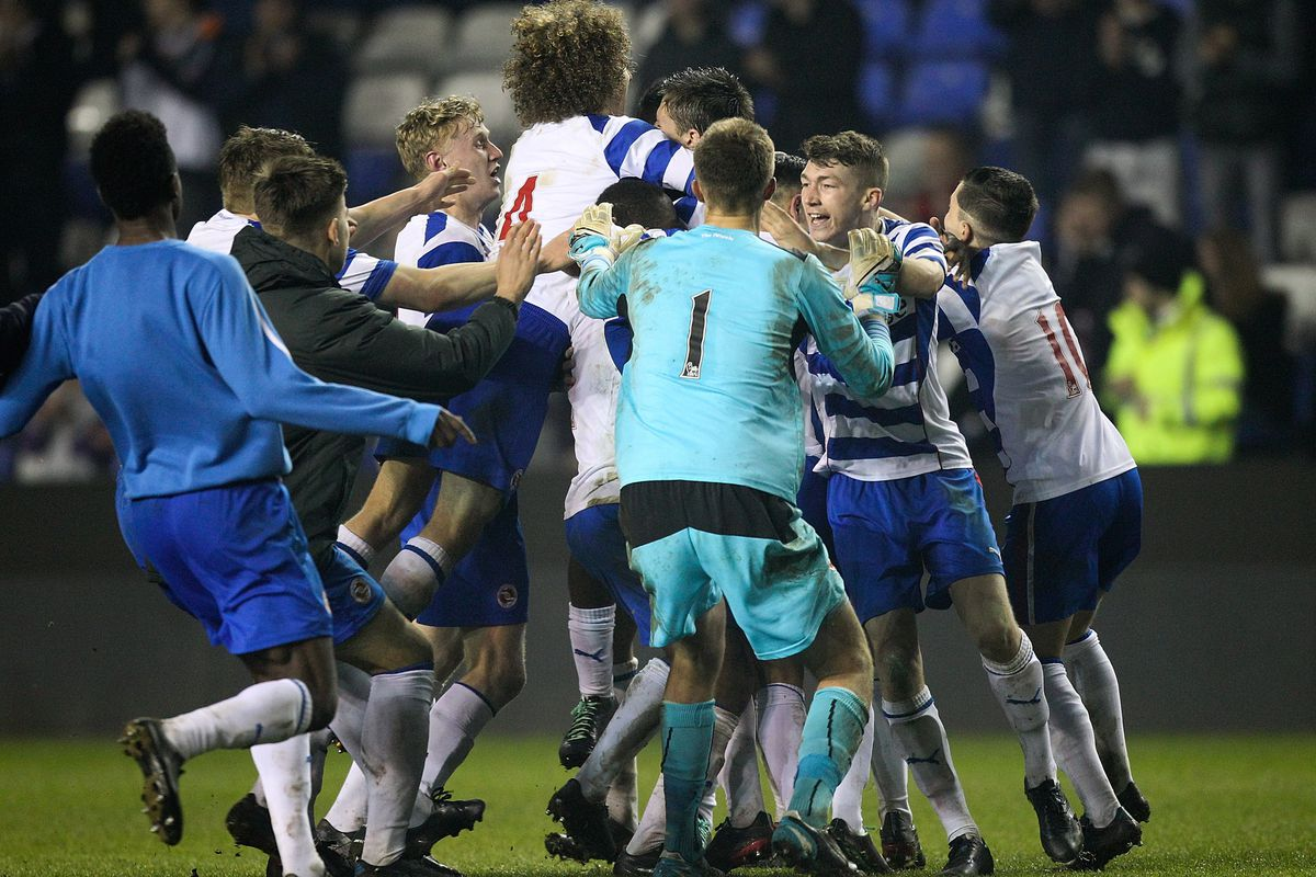 Reading celebrate their dramatic victory over Liverpool