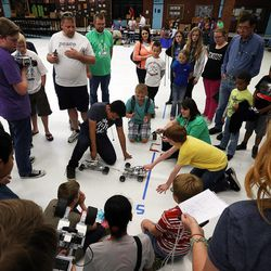 Students face off in robot tug of war as middle school students who have been involved in an after-school STEM program compete in West Jordan on Wednesday, May 27, 2015.