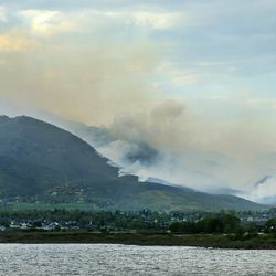 A fire burns in the Dutch Hollow area of Midway on Tuesday, May 12, 2020.
