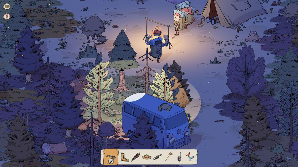 a dimly lit campsite