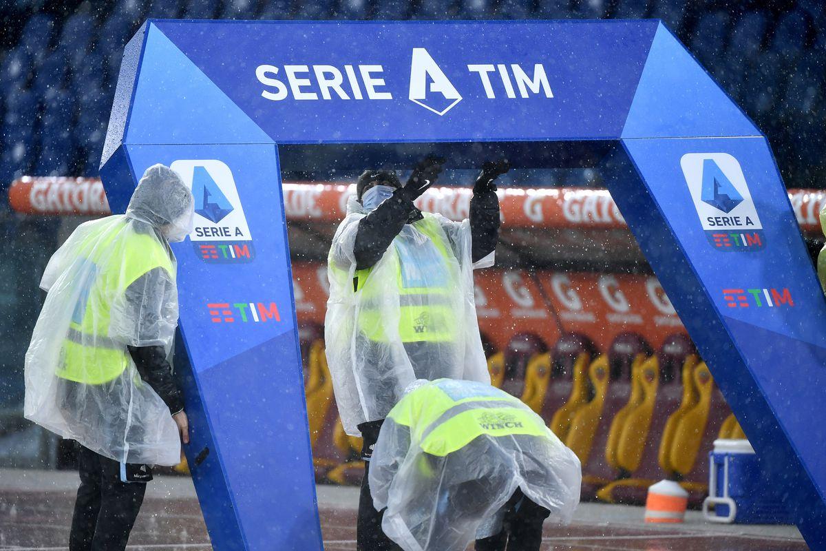 Some stewards arrange the Serie A setup prior to the Serie A...