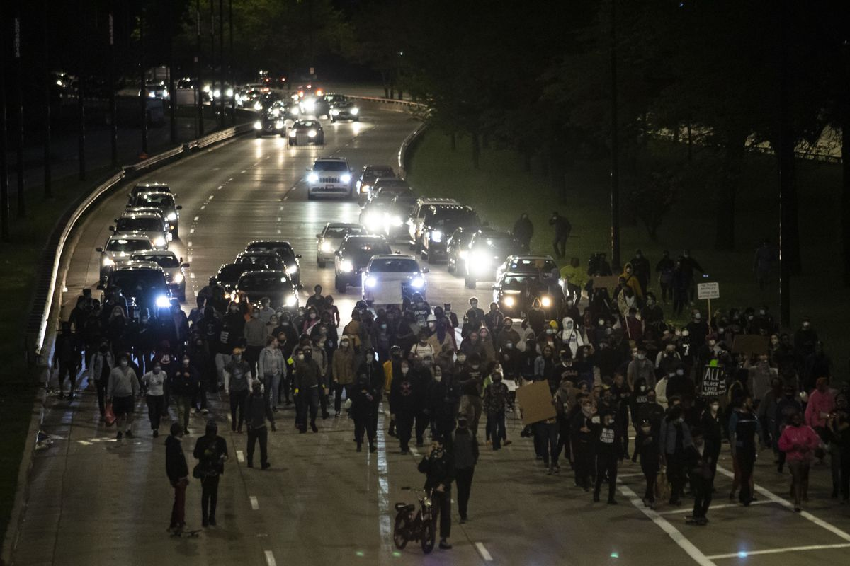 Protesters march on Lake Shore Drive near 47th Street on May 31, 2020, the third day of protests in Chicago over the death of George Floyd, who died in police custody on Memorial Day in Minneapolis.