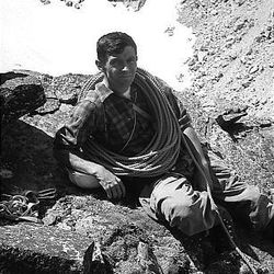 Ted Wilson on the first ascent of Shadow Peak, Grand Teton Range, made with Rick Reese in 1968.