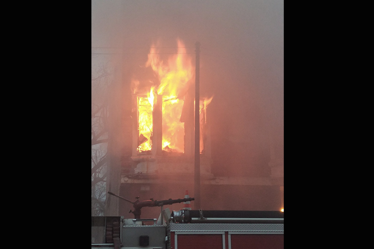 A fire in the second floor of a building at 5th and Albany avenues April 16, 2020.