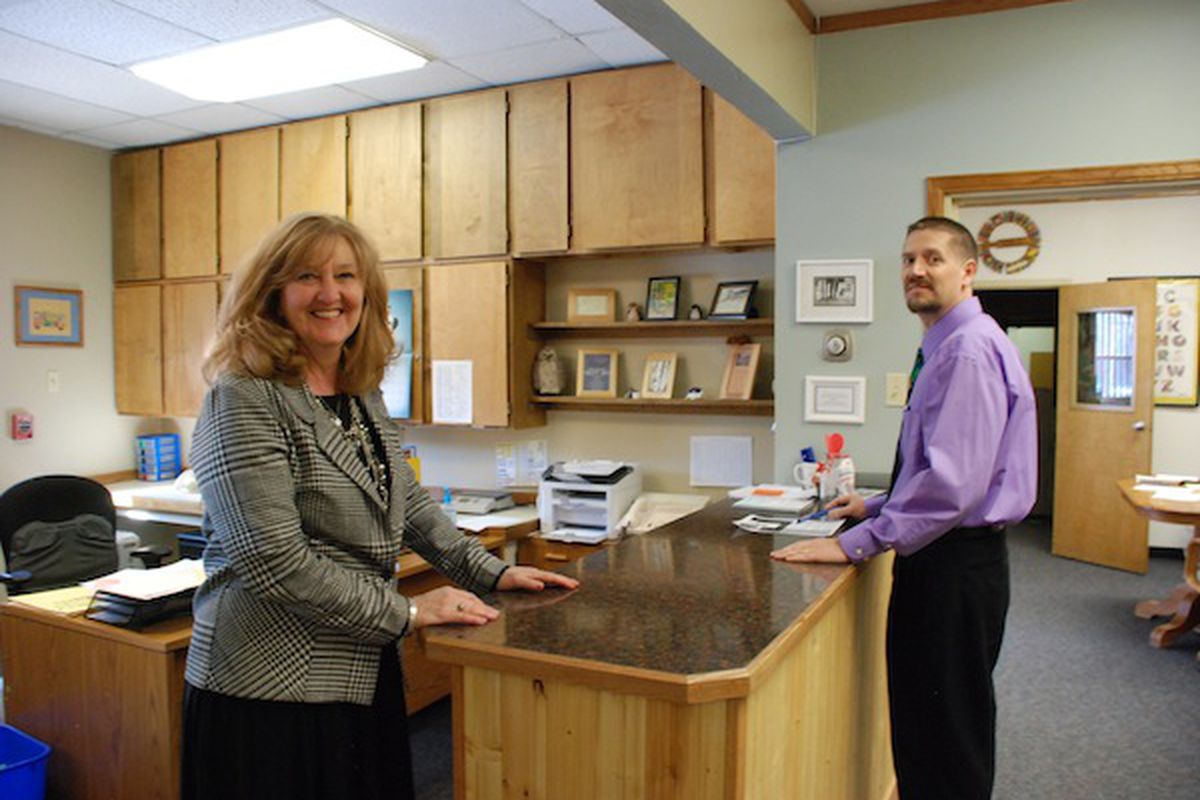 Lauren Kelso, Mountain Valley's principal, and Corey Doss, the  superintendent, in the district's main office.