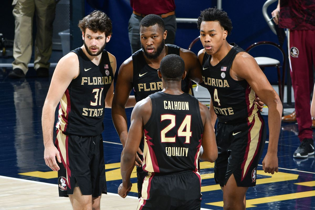 Florida State Seminoles guard Scottie Barnes talks to his teammates in the second half against the Notre Dame Fighting Irish at the Purcell Pavilion.