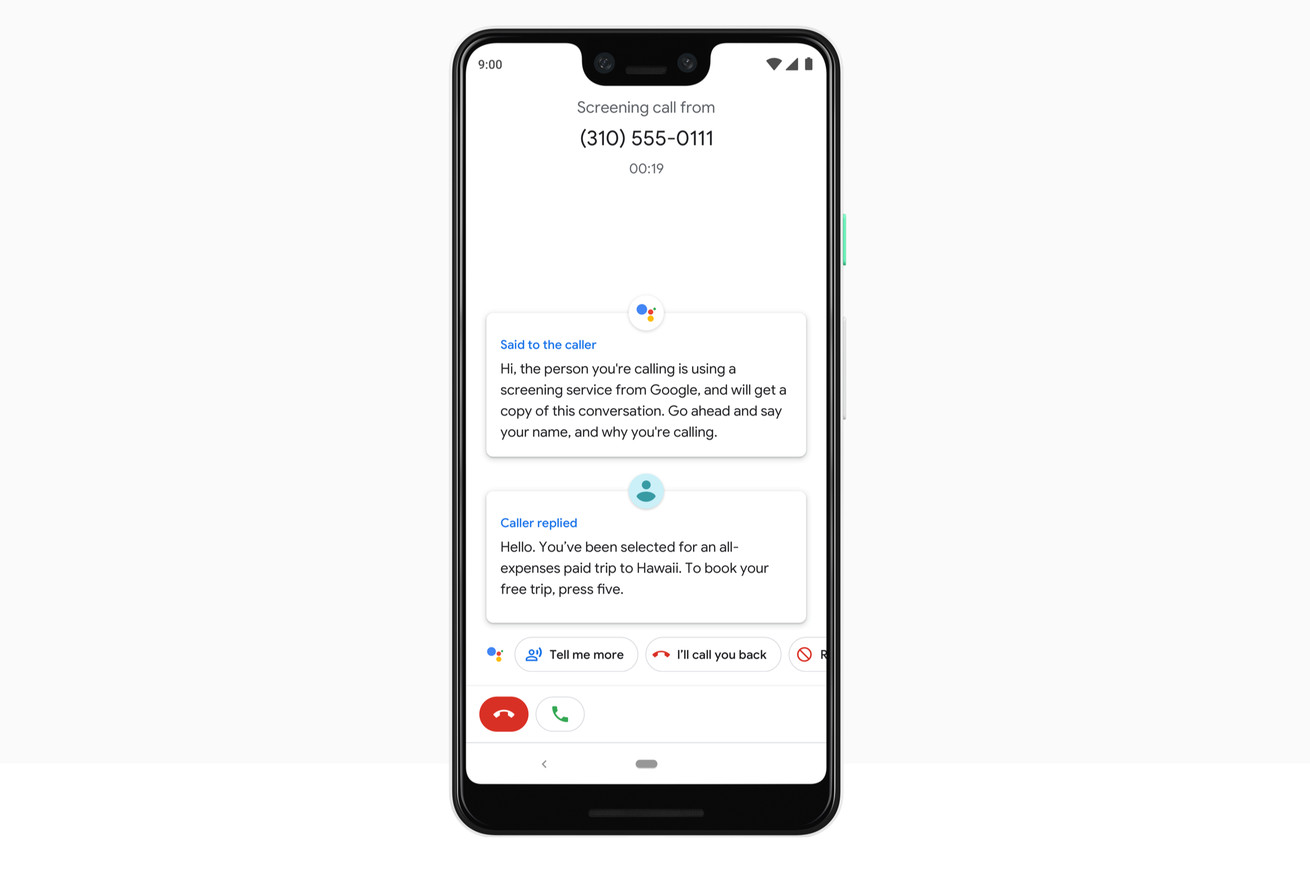 google assistant will screen spam calls on the pixel 3