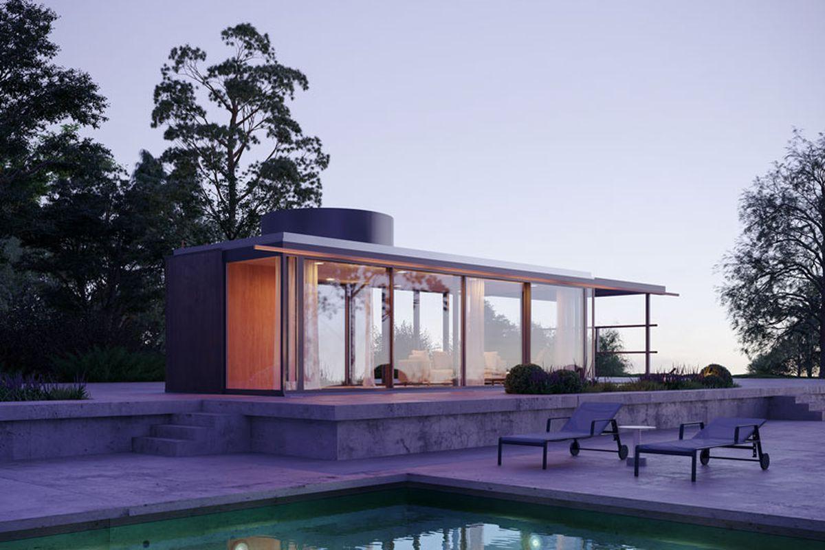 Rendering of pavilion by pool