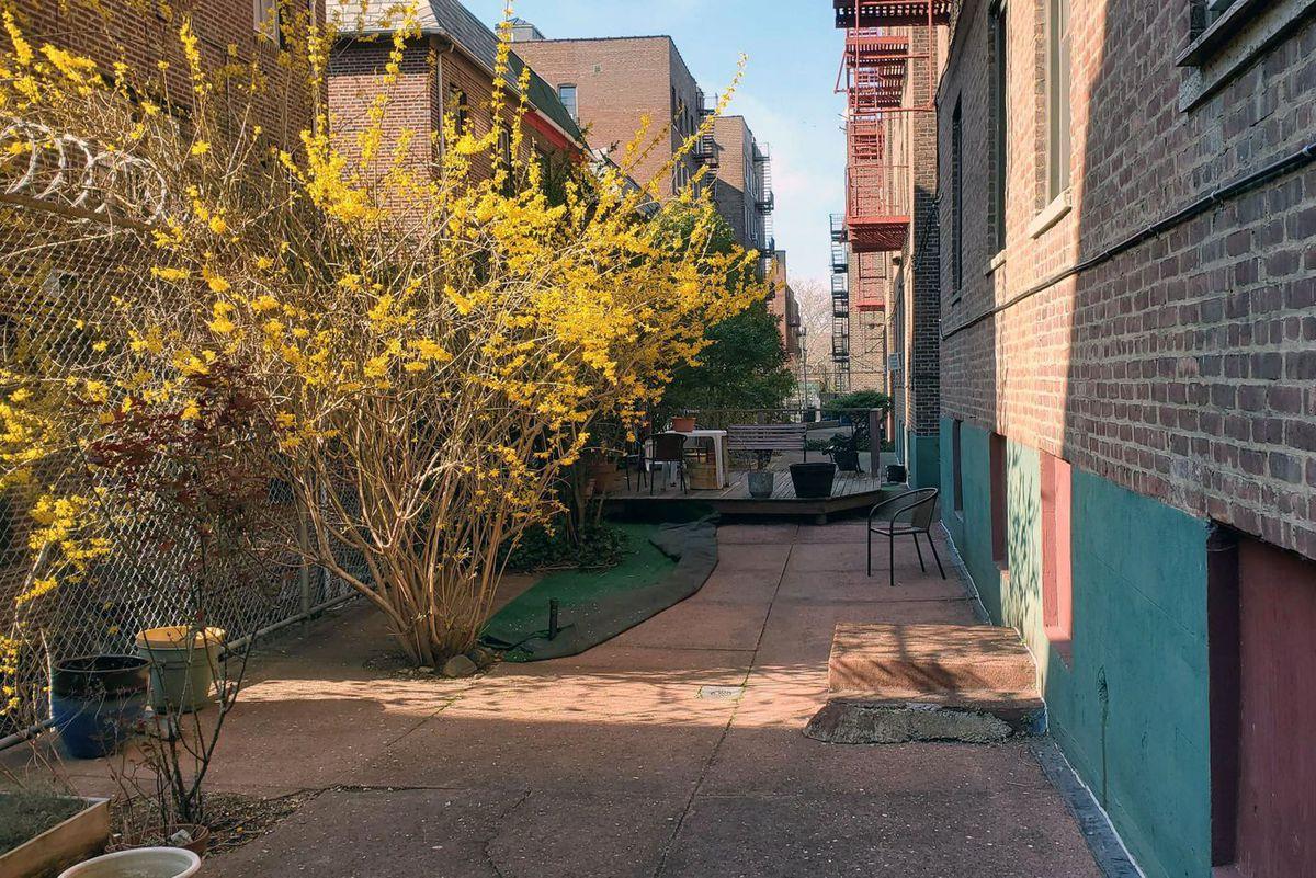 The courtyard of Sascha Segan's Elmhurst apartment building, where he exercises instead of going outside.