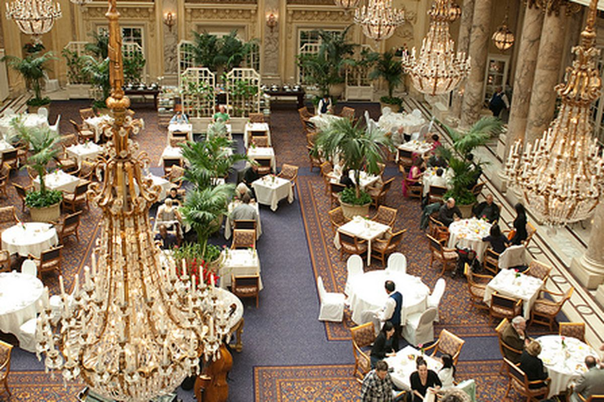 The Garden Court at the Palace Hotel, home of green goddess dressing.