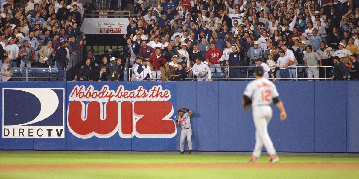 Jeffrey Maier deflects homerun ball which allows the New Yor