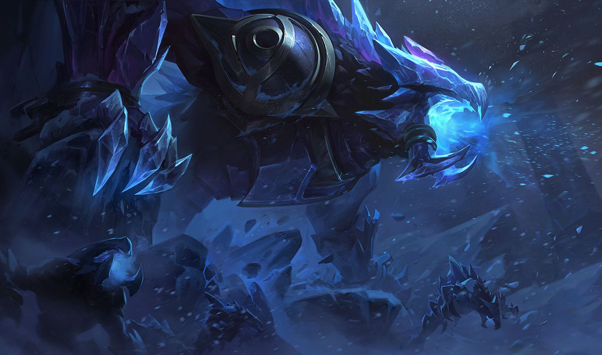 Blackfrost Rek'Sai roars into a snowy cavern