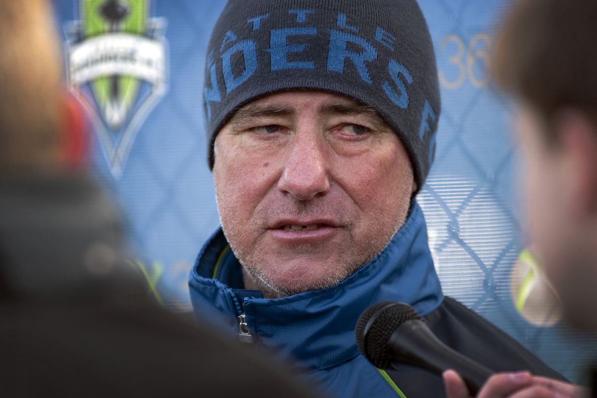 """Seattle Sounders coach Sigi Schmid shares many fans' concerns over the lack of scoring from his team's """"Big Four."""" (Photo courtesy of Sounders FC)"""