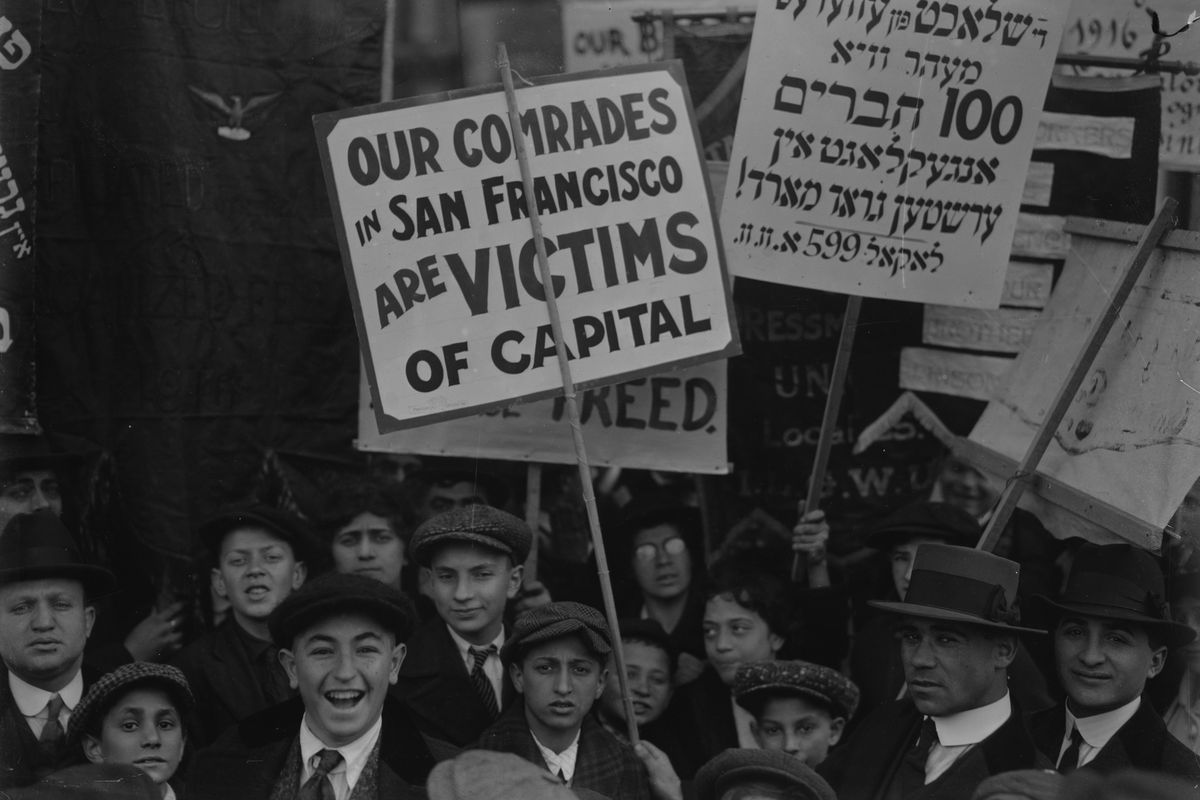 Yiddish Signs carried by Socialist Protesters in New York Labor Day Parade (Photo by Buyenlarge/Getty Images)