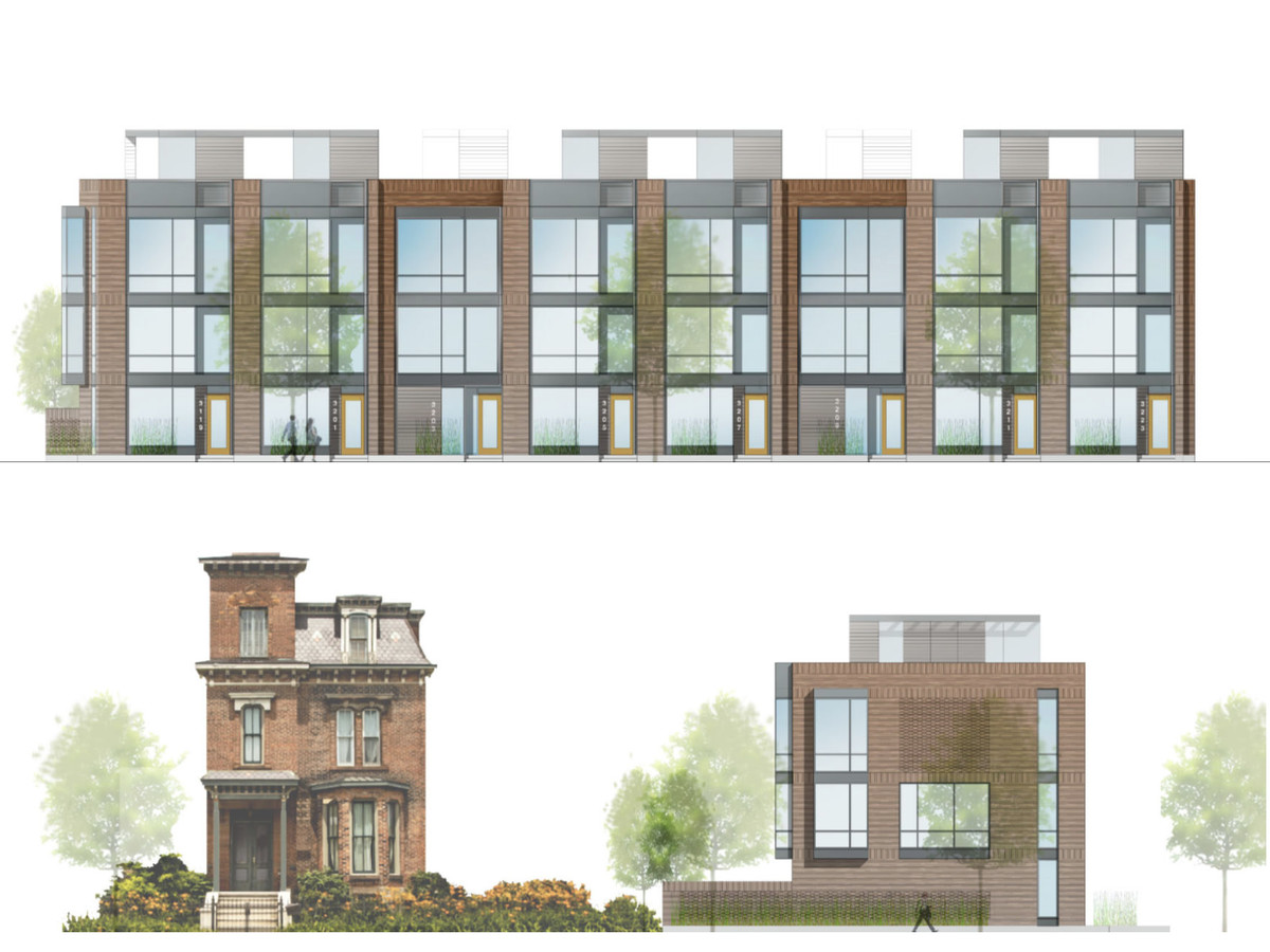 A rendering of a group of residential buildings in Detroit.