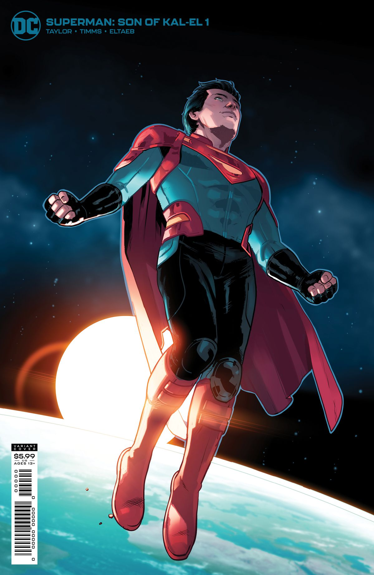 Jon Kent, Superboy/Superman hovers in space as the sun rises above the horizon of the earth behind him on the cover of Superman: Son of Kal-El #1, DC Comics (2021).