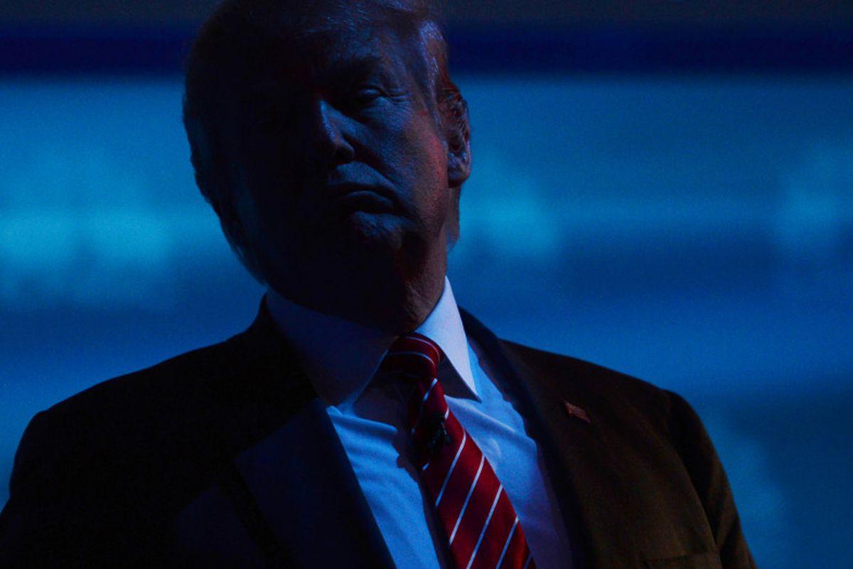 Donald J. Trump at a Republican primary debate in Boulder (RJ Sangosti, The Denver Post).