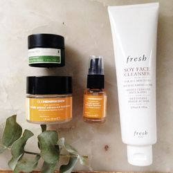 These are my everyday essentials. I've been using the Fresh cleanser for a few years now and cannot recall my cleansing life before it—it takes off even the most stubborn eye makeup without any irritation. The serum and moisturizer are newcomers; their or