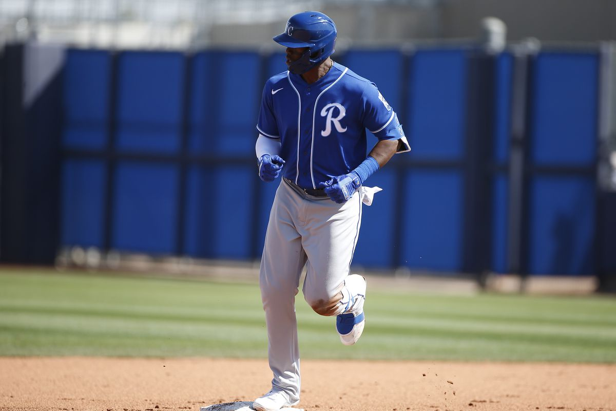 Jorge Soler jogs around the bases following a home run
