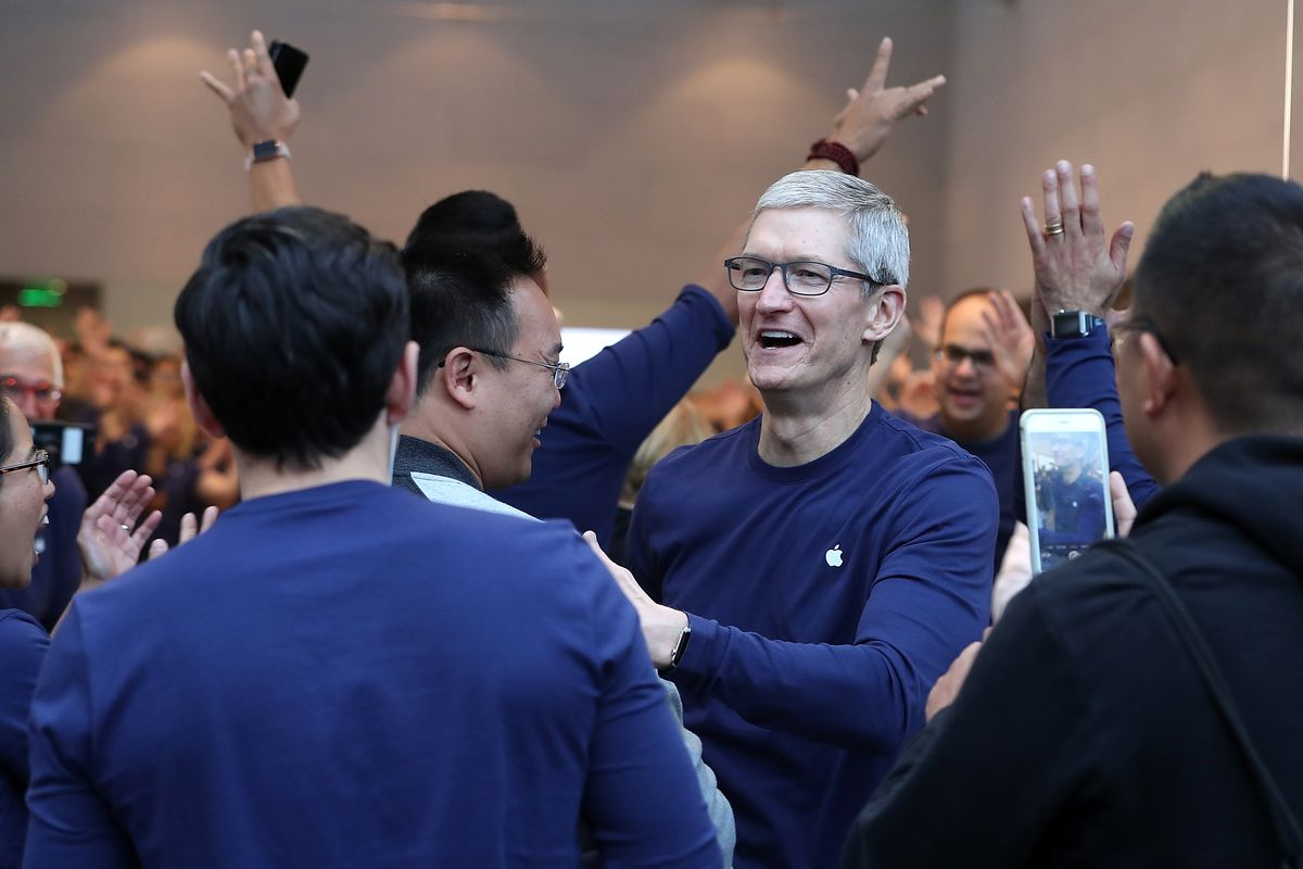 Apple CEO Tim Cook at an Apple store for the iPhone X launch