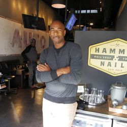 """<i>Michael Elliot at his new men's nail shop on Melrose.</i></br></br> <b>So what's next for Hammers & Nails? Any plans to start a product line?</b></br> """"Yeah, yeah skincare, private label skincare, that's something that I plan to offer. [Hopefully, we"""