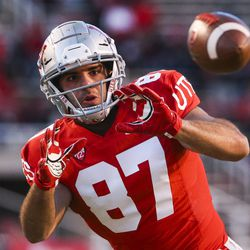 Utah Utes tight end Thomas Yassmin (87) catches the ball on a route during warmups before the start of an NCAA football game between the Utah Utes and Colorado Buffaloes at Rice-Eccles Stadium in Salt Lake City on Saturday, Nov. 30, 2019.