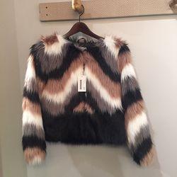 Onyx faux fur coat, $99