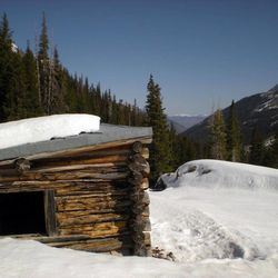 This April 6, 2012, photo, provided by the U. S. Forest Service shows the Conundrum Creek Cabin, in the White River National Forest, near Aspen, Colo., where as many as six cows remain that froze to death. U.S. Forest Service spokesman Steve Segin said Tuesday they need to decide quickly how to get rid of the carcasses. The options: use explosives to break up the cows, burn down the cabin, or using a helicopters or trucks to haul out the carcasses.