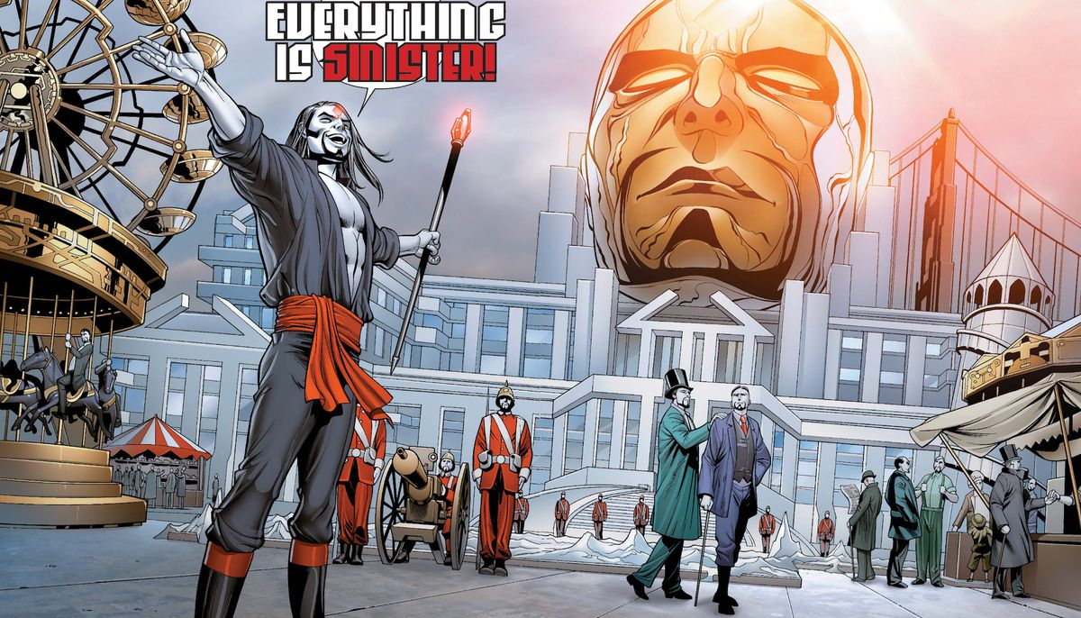 """Mister Sinister, in a shirt slit to his waist and carrying a red-jeweled scepter, declares """"Everything is Sinister!"""" Behind him is a city populated only by clones of himself, powered by the massive gold head of Celestial, which has been altered to also lo"""
