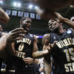 Wichita State's Chadrack Lufile and teammate Nick Wiggins celebrate their 76-70 win over Gonzaga Saturday, March 23, 2013 in the third round of the NCAA tournament in Energy Solutions arena. Wiggins is one of several familiar names participating in the Jazz mini-camp.