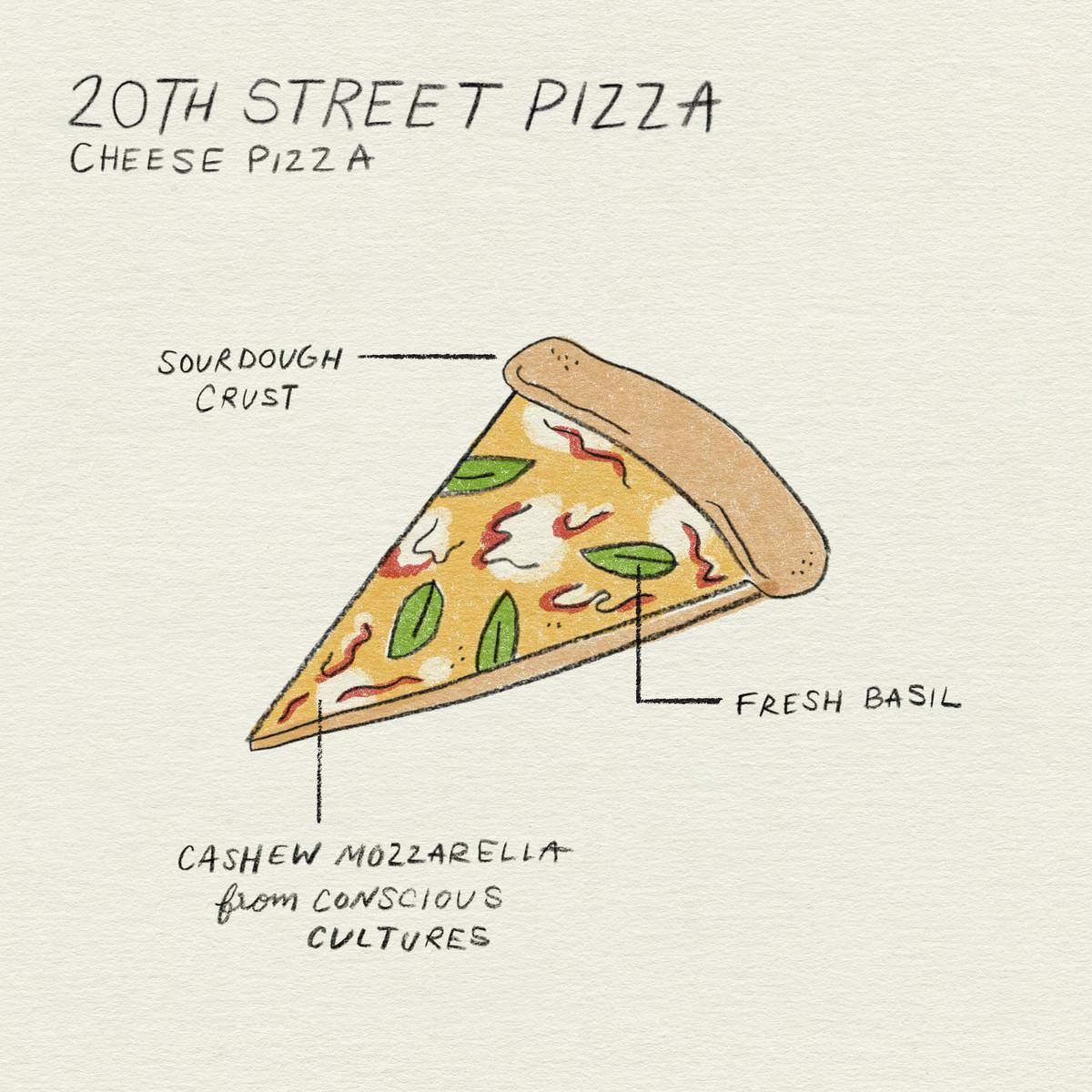 hình minh họa một lát bánh pizza từ tiệm pizza phố 20