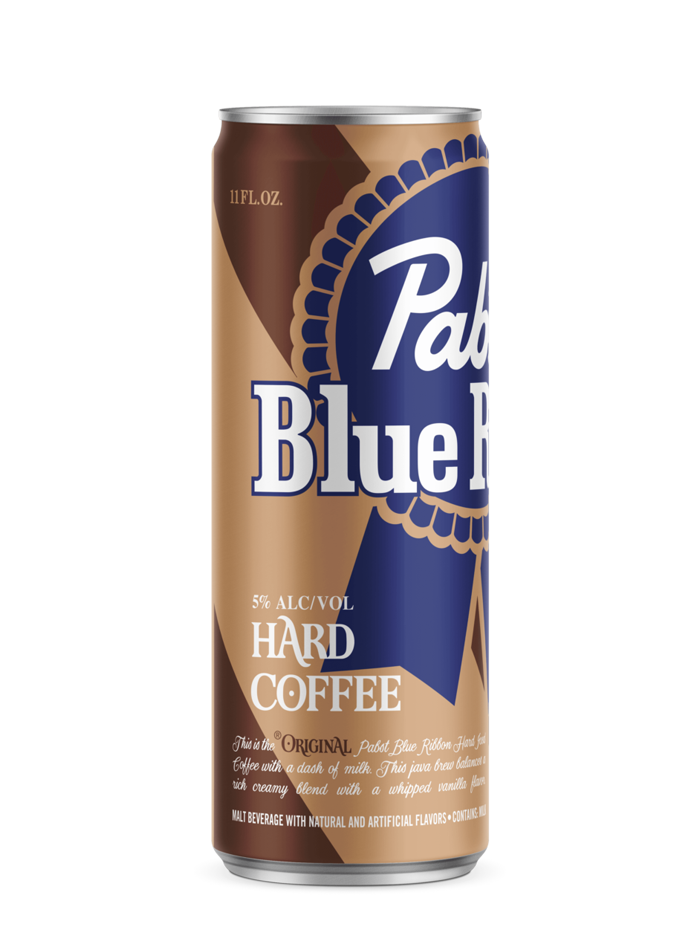 A brown can features the signature blue ribbon logo of PBR. The company is testing a hard coffee with five percent alcohol-by-volume in several states