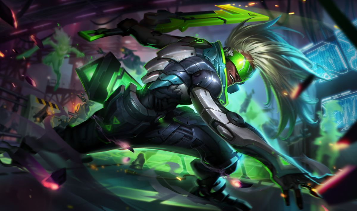 PROJECT: Ekko slashes through some robot baddies, while showing off his great white hair