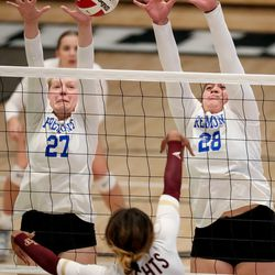 Lone Peak and Fremont face off in a 6A volleyball state semifinals game at Hillcrest High School in Midvale on Friday, Nov. 6, 2020.