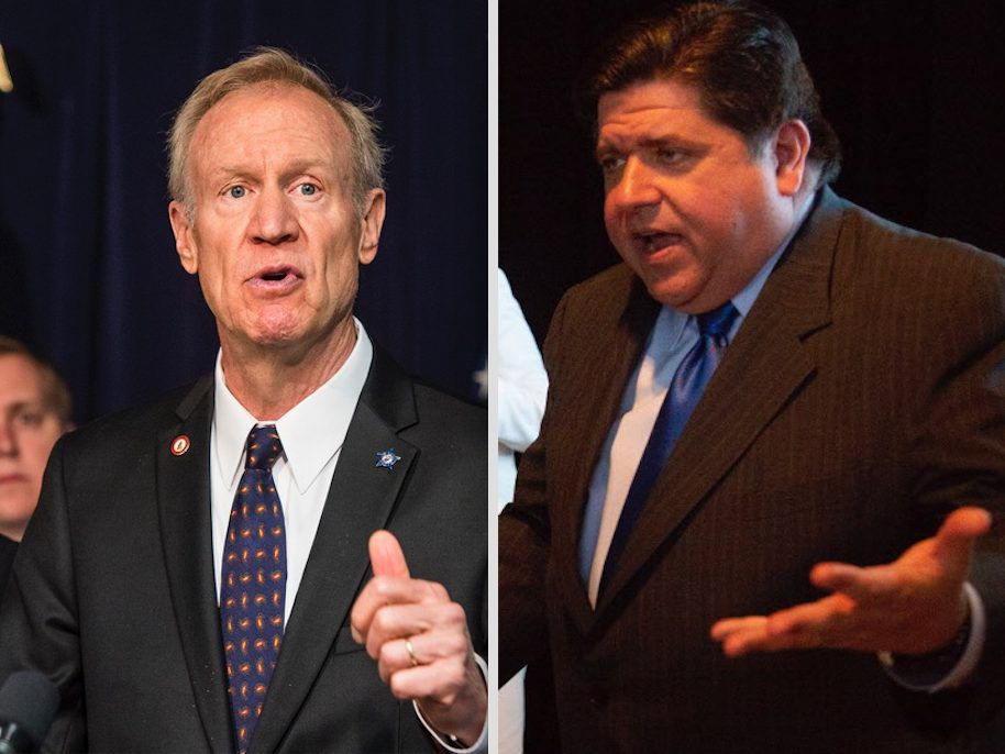 Gov. Bruce Rauner, left, speaks to reporters in June. File Photo.   Tyler LaRiviere/Sun-Times; Democrat J.B. Pritzker, right, at a campaign stop in July. File Photo.   Jane Recker/For the Sun-Times